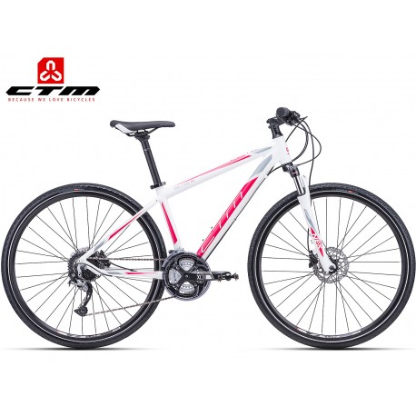 CTM ELITE 1.0 2018 bílé červené dámské trekové kolo