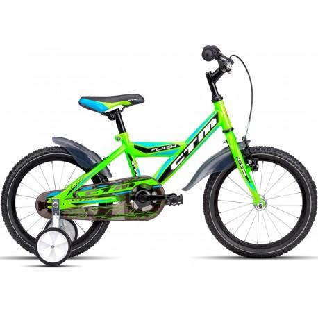 Dětské kolo FLASH CTM 2016 reflexní zelené světle modré