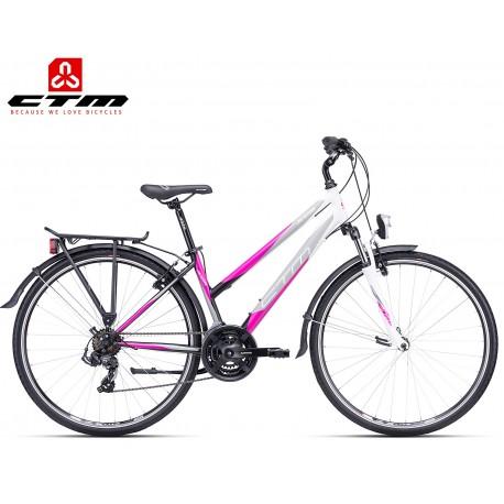 JESSIE CTM 2019 černé fialové dámské trekingové kolo s blatníků a nosičem