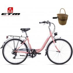 Městské dámské kolo CTM Olivia 2.0 2020 růžové šedé s proutěným košíkem