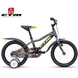 Dětské kolo FOXY CTM 2020 šedé žluté s balančními kolečky