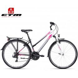 JESSIE CTM 2020 černé růžové dámské kolo s blatníky a nosičem